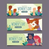 set van vrouwendag met banner met verschillende huidskleur vector