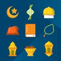 eenvoudige platte eid seizoensgroeten icoon collectie
