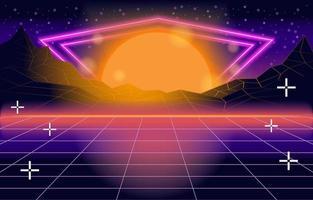 gaming van retro neon vector