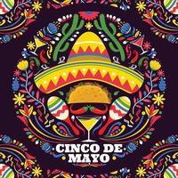 cinco de mayo met kleurrijke achtergrond