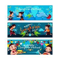 thailand songkran festival banner set vector