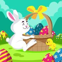 een konijn knuffelt een mand vol eieren