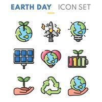 aarde dag icoon collectie vector