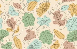 bladeren en vlinders patroon één lijn kunst achtergrond vector
