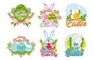 gelukkige pasen-sticker met gedetailleerd concept