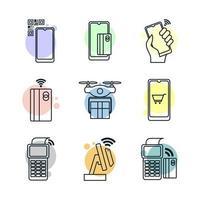 contactloze technologie icon set vector