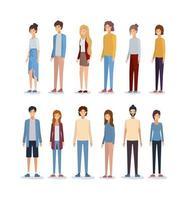 vrouwen en mannen avatars ontwerp vector