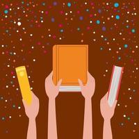 handen met boeken ontwerpen vectorillustratie vector