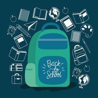 schooltas en benodigdheden terug naar school vector