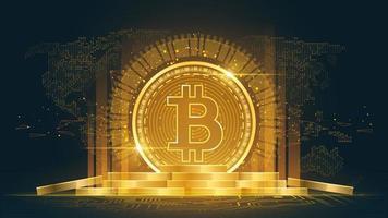 bitcoin cryptocurrency met stapel munten vector