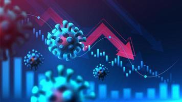 wereldwijde financiële crisis van virus pandemie grafisch concept. vector