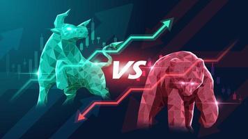 concept art van bullish en bearish aandelenmarkt.