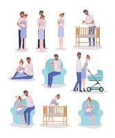 ouders die voor pasgeboren babyset zorgen vector