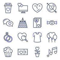 pack van liefde en valentijn gekleurde lijn iconen vector