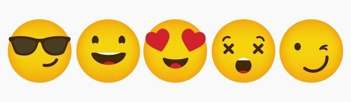 reactie ontwerp emoticon platte collectie vector