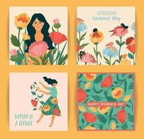 internationale Vrouwendag. set van vectorillustraties met schattige vrouwen en bloemen vector