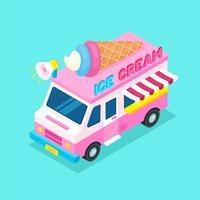 Isometrisch voedsel Truck ijs vector