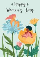 internationale Vrouwendag. vector sjabloon met vrouwen en bloemen voor kaart, poster, flyer en andere gebruikers