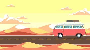 woestijn road trip vector