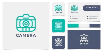 eenvoudig en minimalistisch lijncamera-logo met sjabloon voor visitekaartjes vector