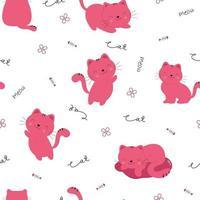schattige kat naadloze patroon met handgetekende woord vector