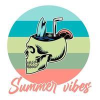 schedel zomer vibes, vectorillustratie vector