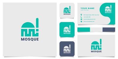 eenvoudig en minimalistisch geometrisch moskee-logo met sjabloon voor visitekaartjes vector