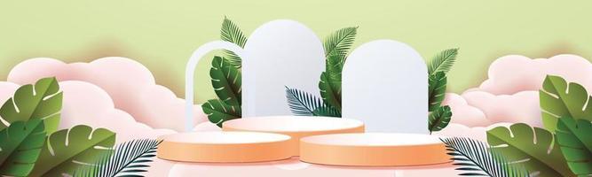 3d podia en tropische bladeren in de wolken vector