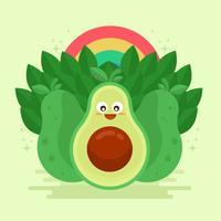 Avocado Kawai vectorillustratie vector