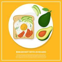 Platte ontbijt met avocado vectorillustratie vector
