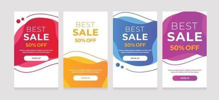moderne mobiele dynamische vloeistof voor de beste verkoopbanner. verkoop banner sjabloonontwerp vector