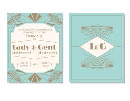 Art Deco bruiloft uitnodiging Vector
