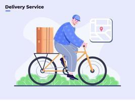 vlakke afbeelding van bezorgservice met fietscyclus, koerierrit fietscyclus naar het verzenden van pakketpakket, voedselbezorgservice, moderne bezorgservice, pakketten naar klanten verzenden, pakketdoos. vector