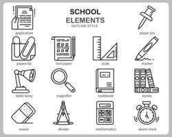 school pictogrammenset voor website, document, posterontwerp, afdrukken, toepassing. school concept pictogram Kaderstijl. vector