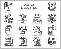 online leren pictogrammenset voor website, document, posterontwerp, afdrukken, toepassing. online cursus concept pictogram Kaderstijl.