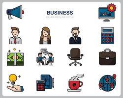 zakelijke pictogrammenset voor website, document, posterontwerp, afdrukken, toepassing. bedrijfsconcept pictogram gevuld overzichtsstijl.