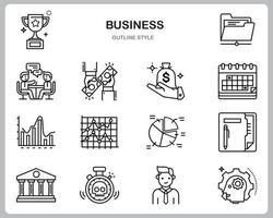 zakelijke pictogrammenset voor website, document, posterontwerp, afdrukken, toepassing. business concept pictogram Kaderstijl.