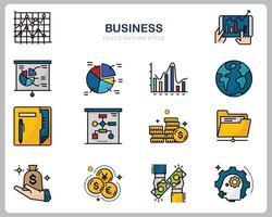 zakelijke pictogrammenset voor website, document, posterontwerp, afdrukken, toepassing. bedrijfsconcept pictogram gevuld overzichtsstijl. vector