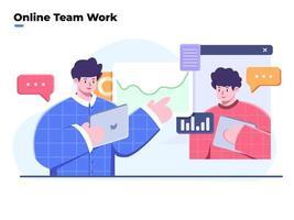 vlakke stijlillustratie van teamwerk en bedrijfsanalyse, videoconferentie en online vergadering, thuiswerken, virtuele zakelijke samenwerking of teamwerk, team dat ideeën bespreekt met videogesprek. vector