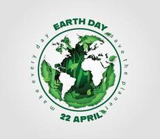 planeet aarde omgeven door bosplanten, concept van de dag van de aarde vector