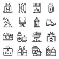 pakket campingaccessoires lineaire pictogrammen