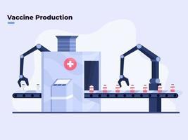vlakke afbeelding van massaproductie van covid-19 coronavirusvaccin, covid-19 vaccinproductie met moderne automatische robottechnologie, apotheek of medische fabrieksproductie die covid-19-vaccin produceert vector