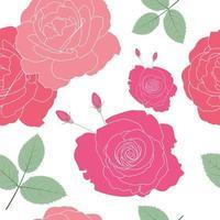naadloze patroon van rode en roze rozen met bladeren en toppen.