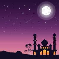 mooie nachtelijke hemel met moskeebouw vector