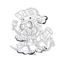 octopus graffiti inkt illustratie kunstwerk vector
