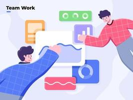 collaboratief business team werkt vlakke afbeelding, kantoormensen werken samen, business team analyse en datavisualisatie, analisten team coworking, analyse van verkoop, statistische groeigegevens. vector