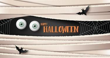 gelukkige halloween-groetbanner met oog en vleermuizen. papier gesneden stijl. vector
