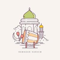 ramadan kareem met islamitisch symbool in lijnstijl vector