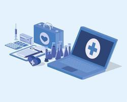 laptop telegeneeskundedienst met medische kit en medicijnen vector