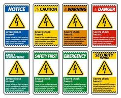 gevaar voor ernstige schokken teken ingesteld op een witte achtergrond vector